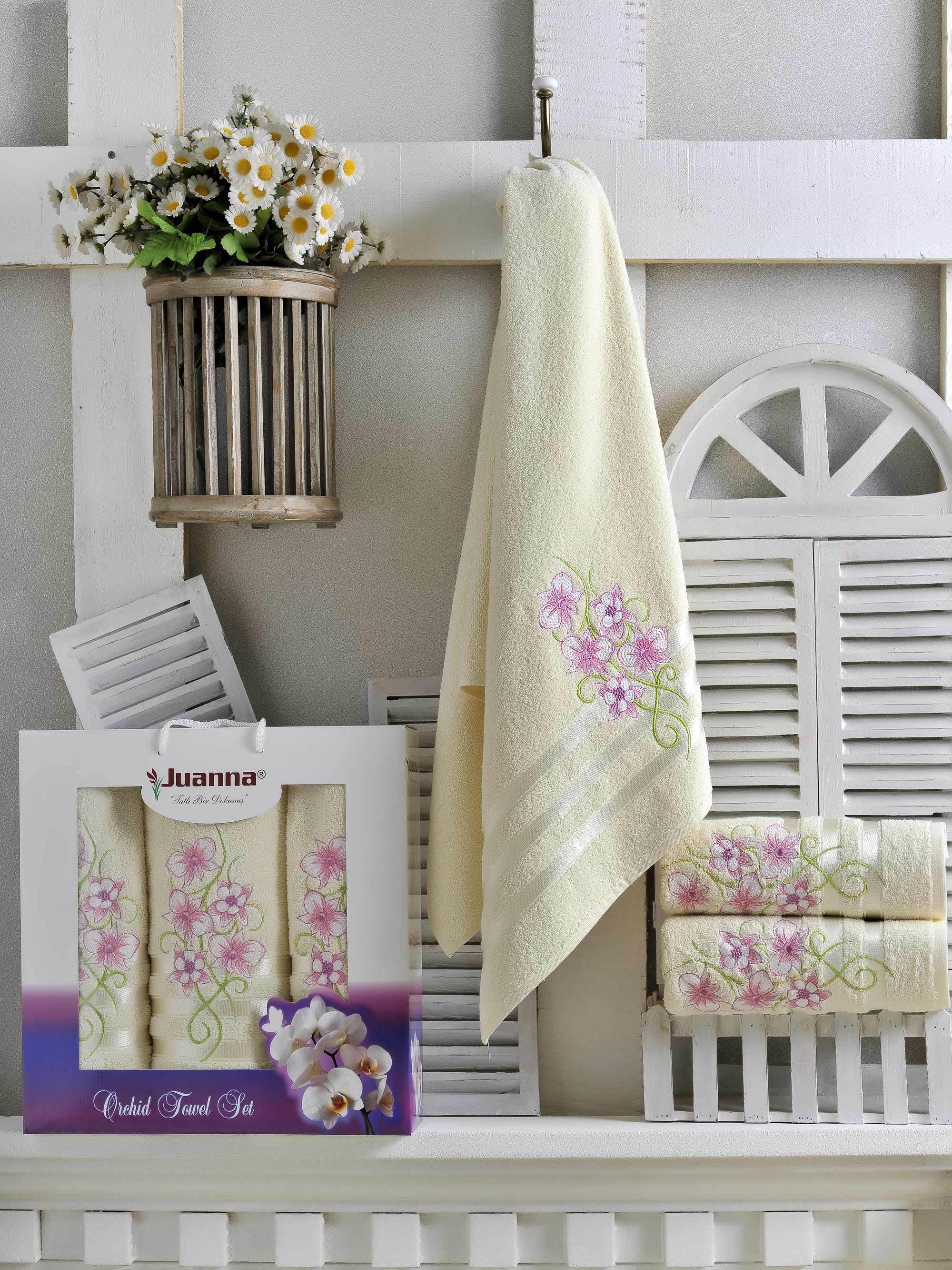Полотенца Juanna Набор из 3 полотенец Orkide Цвет: Кремовый набор из 3 полотенец merzuka geo 50х90 2 70х140 8425 кремовый