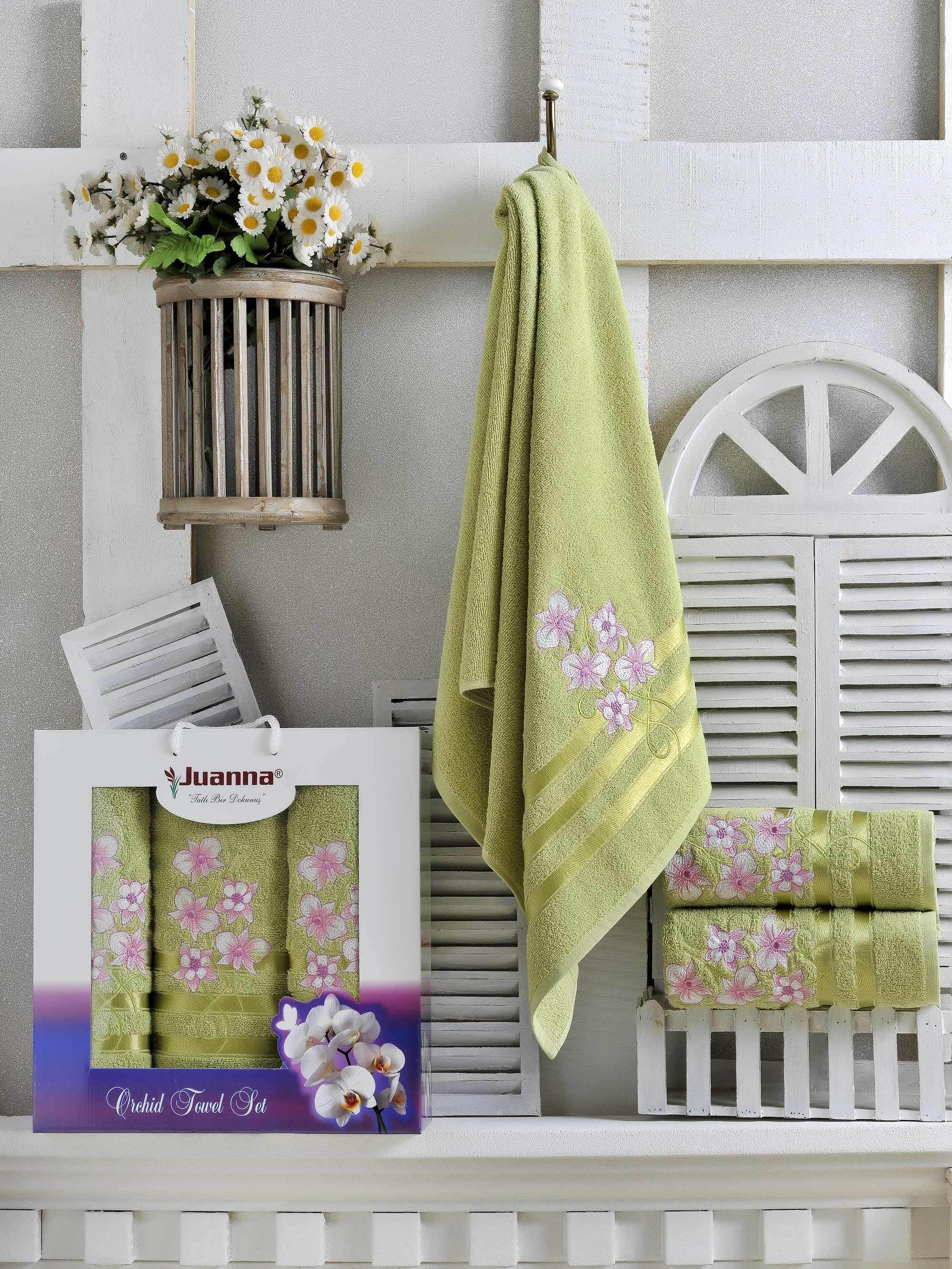 Полотенца Juanna Набор из 3 полотенец Orkide Цвет: Зелёный набор из 2 полотенец merzuka sakura 50х90 70х140 8430 зелёный