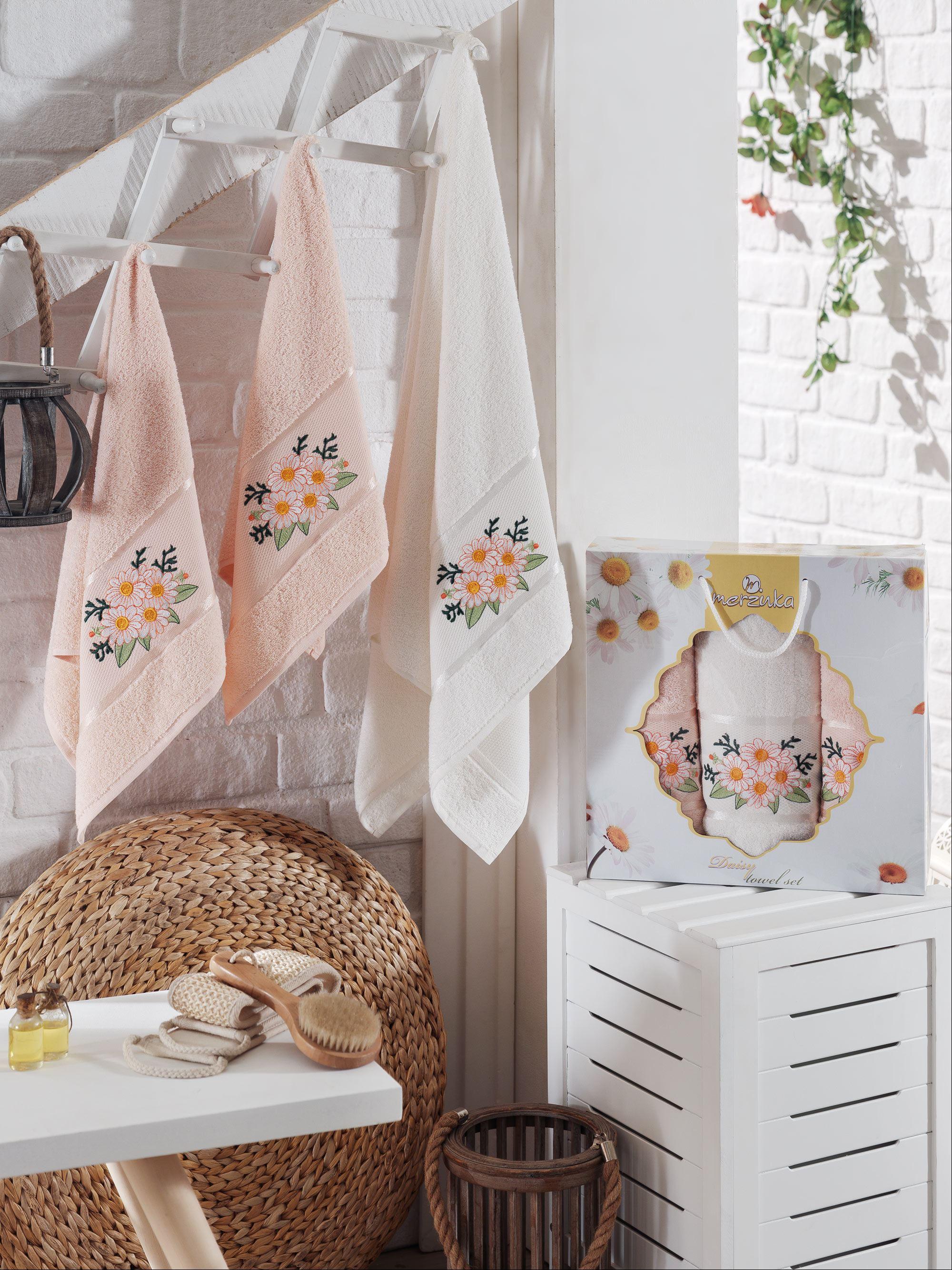 Полотенца Oran Merzuka Полотенце Daisy Цвет: Пудра (50х80 см - 2 шт,70х130 см) полотенца oran merzuka полотенце daisy цвет сиреневый 50х80 см 2 шт 70х130 см
