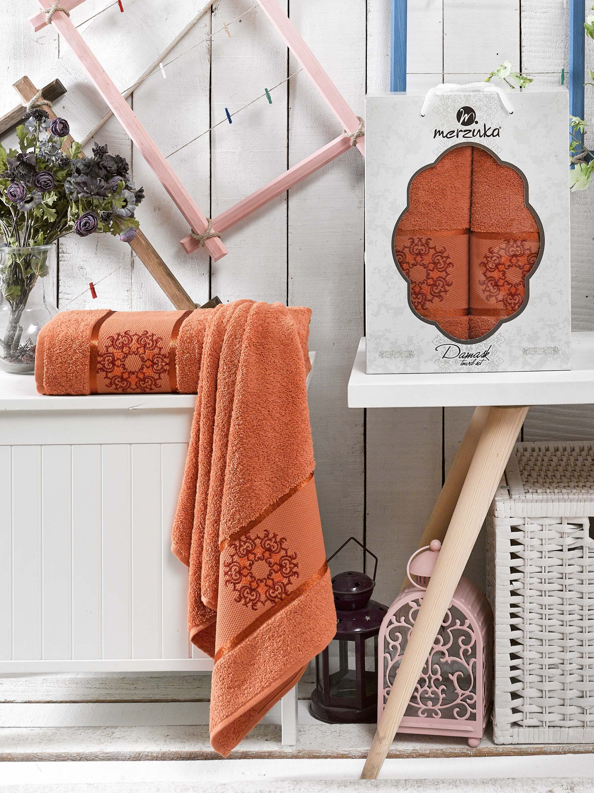 Полотенца Oran Merzuka Полотенце Damask Цвет: Терракотовый (50х80 см,70х130 см) набор из 3 полотенец merzuka sakura 50х90 2 70х140 8432 оранжевый