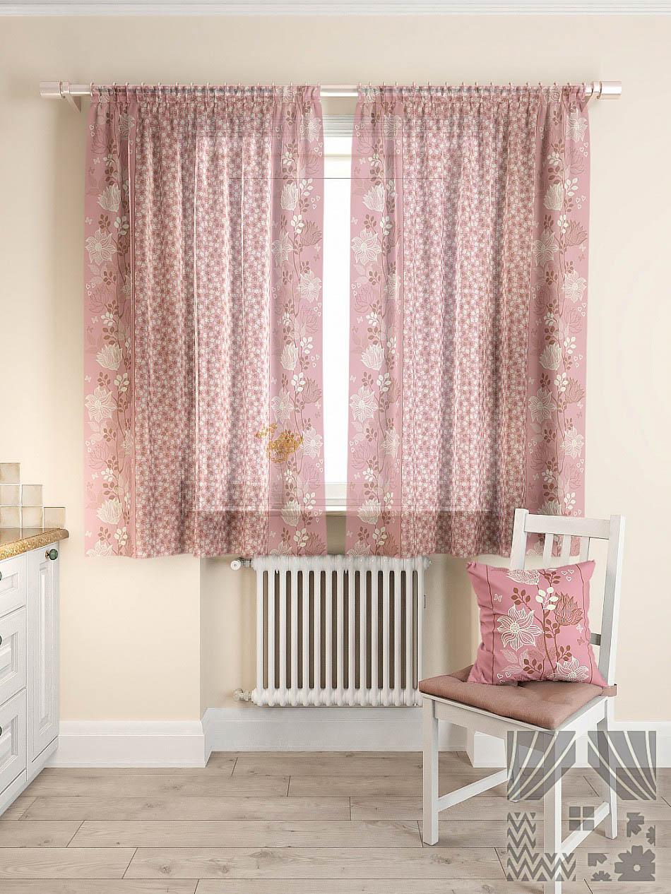 Шторы ТомДом Классические шторы Фишт Цвет: Розовый шторы tac классические шторы глянец цвет портьер розовый цвет тюля белый с бежевой полоской
