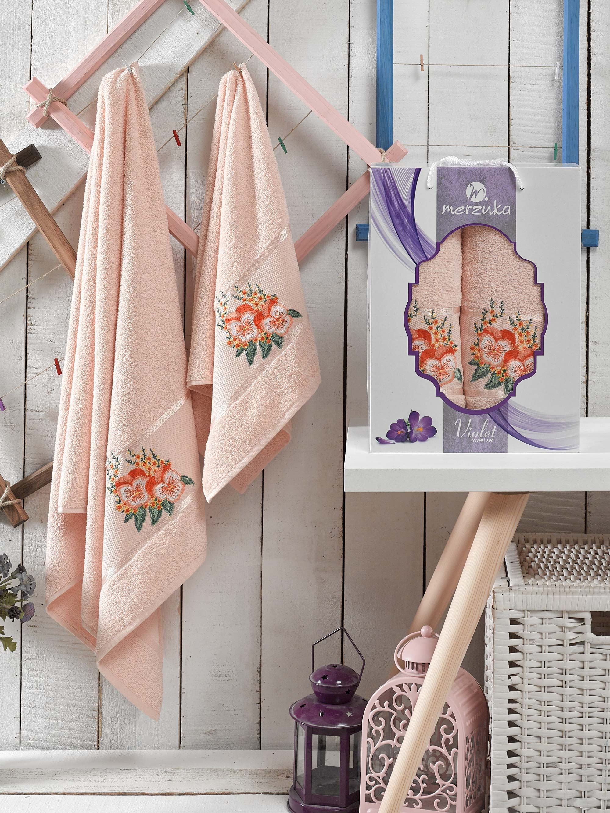 Полотенца Oran Merzuka Полотенце Violet Цвет: Пудра (50х80 см,70х130 см) набор из 3 полотенец merzuka sakura 50х90 2 70х140 8432 оранжевый