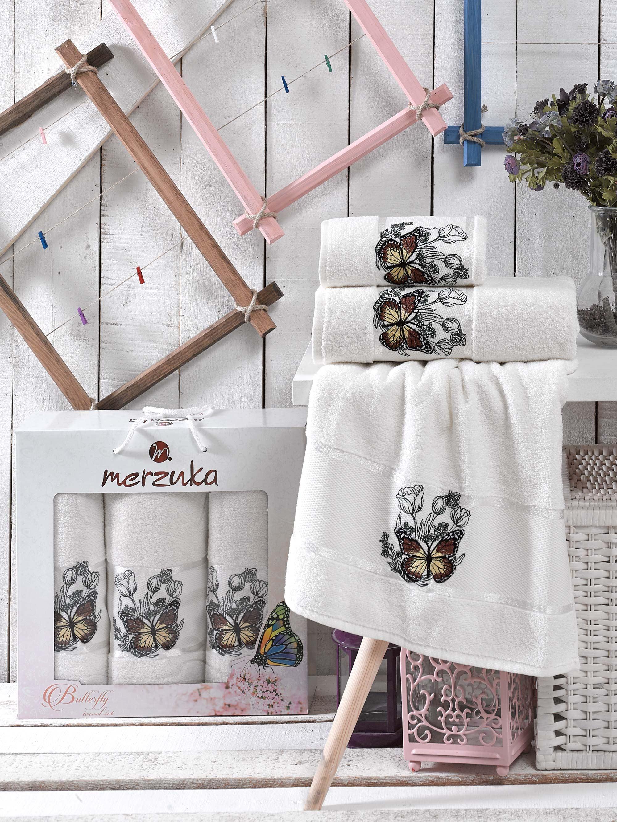 Полотенца Oran Merzuka Полотенце Butterfly Цвет: Кремовый (50х80 см - 2 шт,70х130 см) oran merzuka oran merzuka полотенце dudak цвет кремовый набор