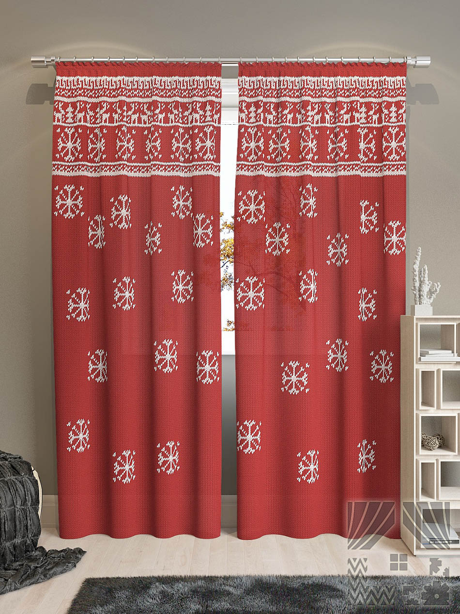 Шторы ТомДом Классические шторы Айола-К Цвет: Красный