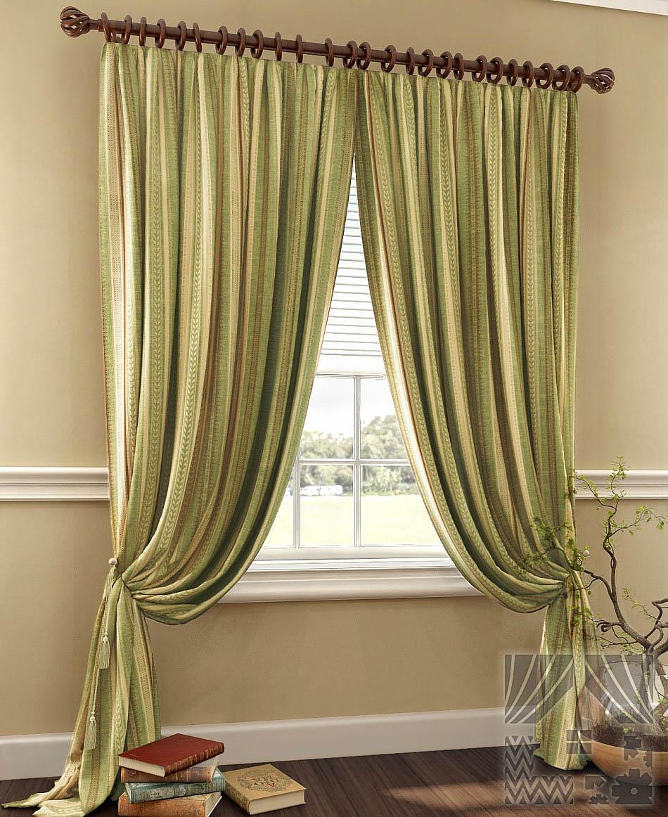 Шторы ТомДом Классические шторы Хизпар Цвет: Терракотово-Зеленый