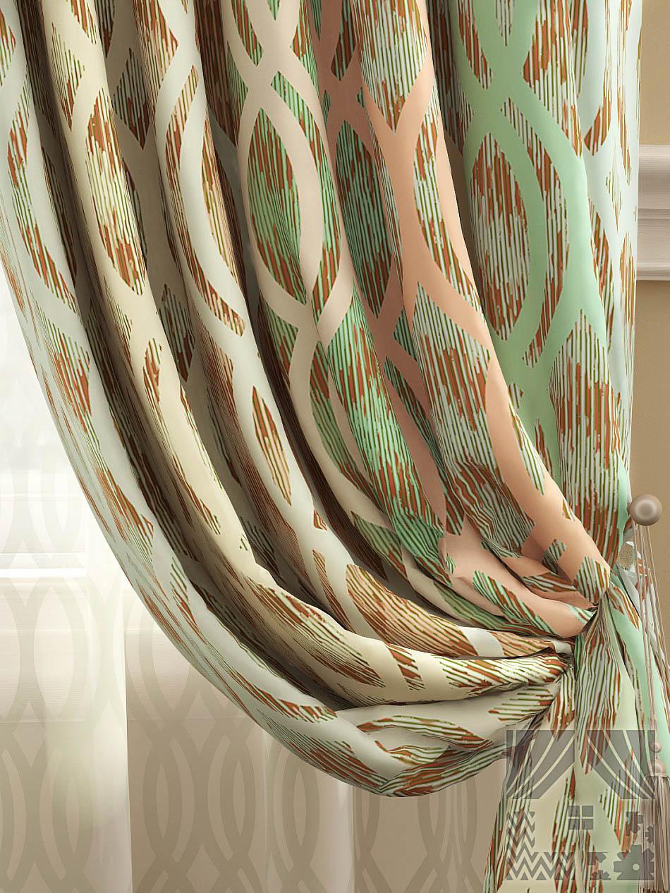 Шторы ТомДом Классические шторы Робиш Цвет: Персиково-Зеленый
