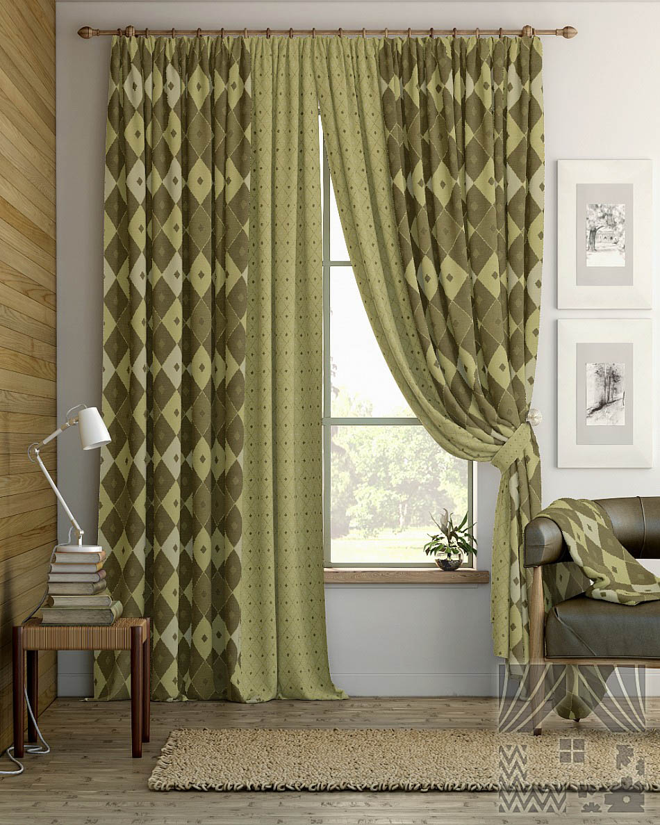 Шторы ТомДом Классические шторы Дутей Цвет: Оливково-Коричневый