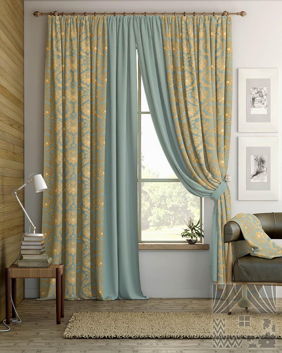 Шторы ТомДом Классические шторы Сочур Цвет: Голубой