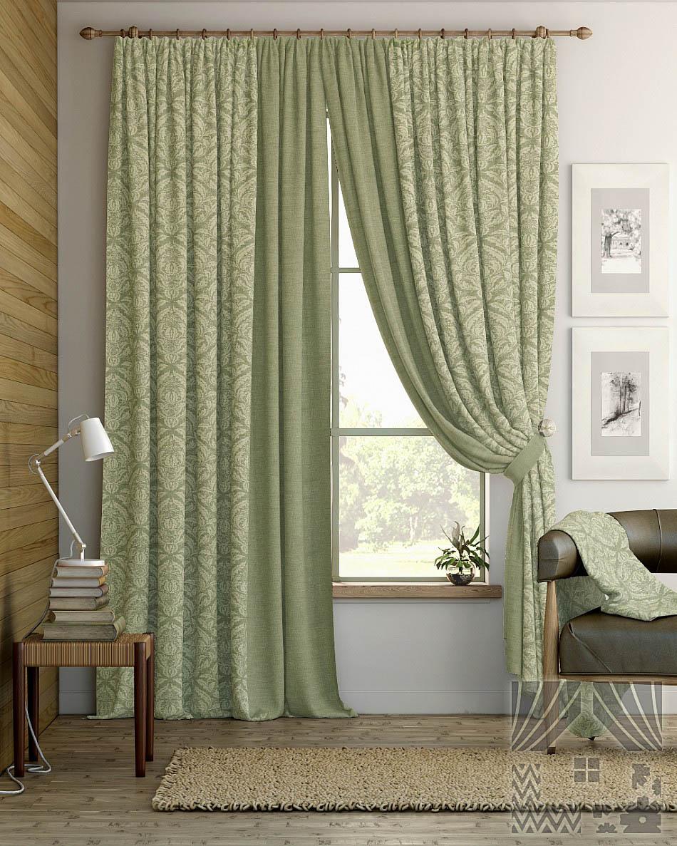 Шторы ТомДом Классические шторы Алески Цвет: Зеленый шторы tac классические шторы winx цвет персиковый 200x265 см