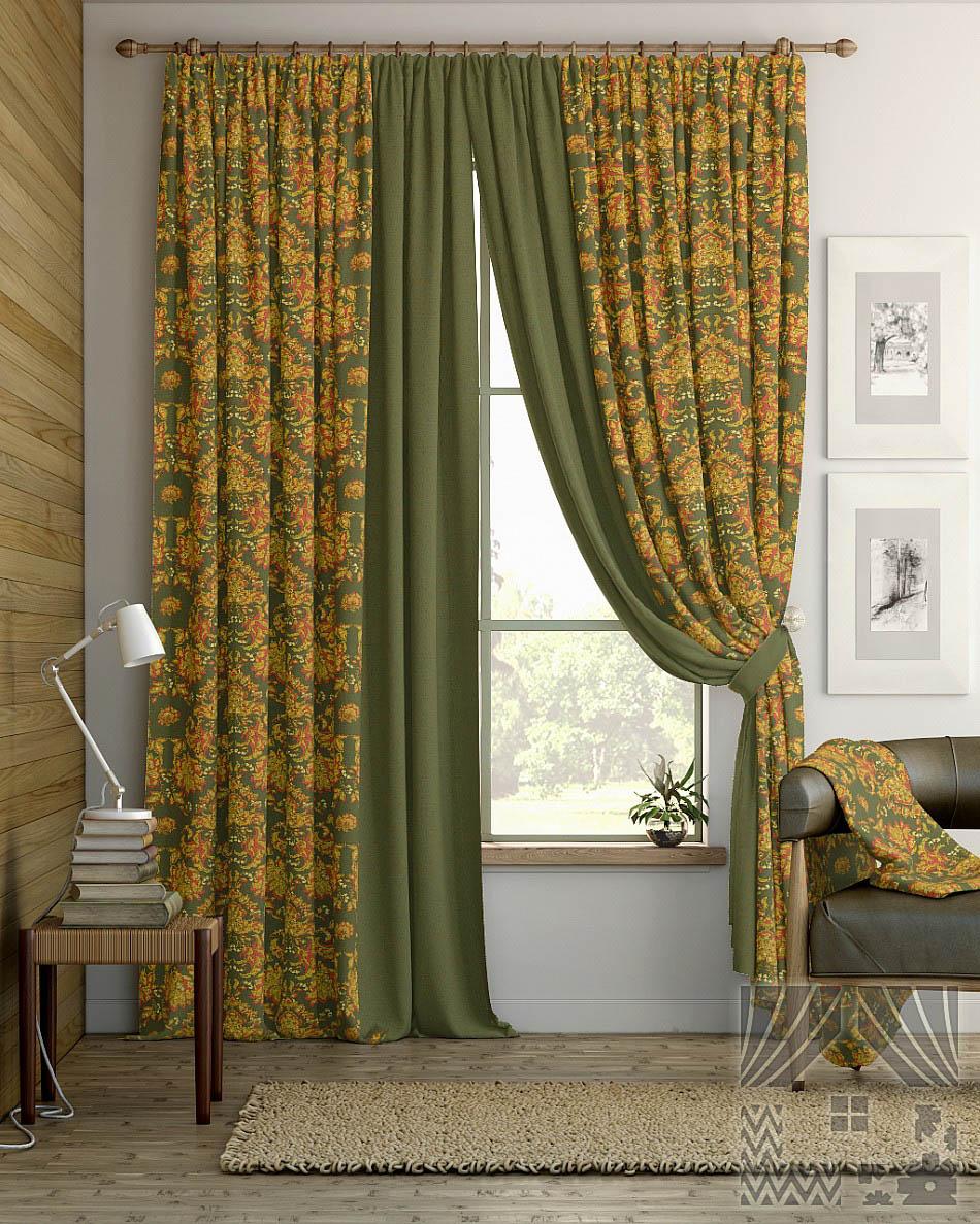 Шторы ТомДом Классические шторы Койбо Цвет: Оливково-Красный