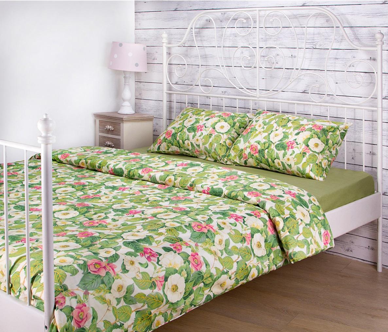 Постельное белье Santalino Постельное белье Жасмин Цвет: Светло-Зеленый (2 сп. евро)