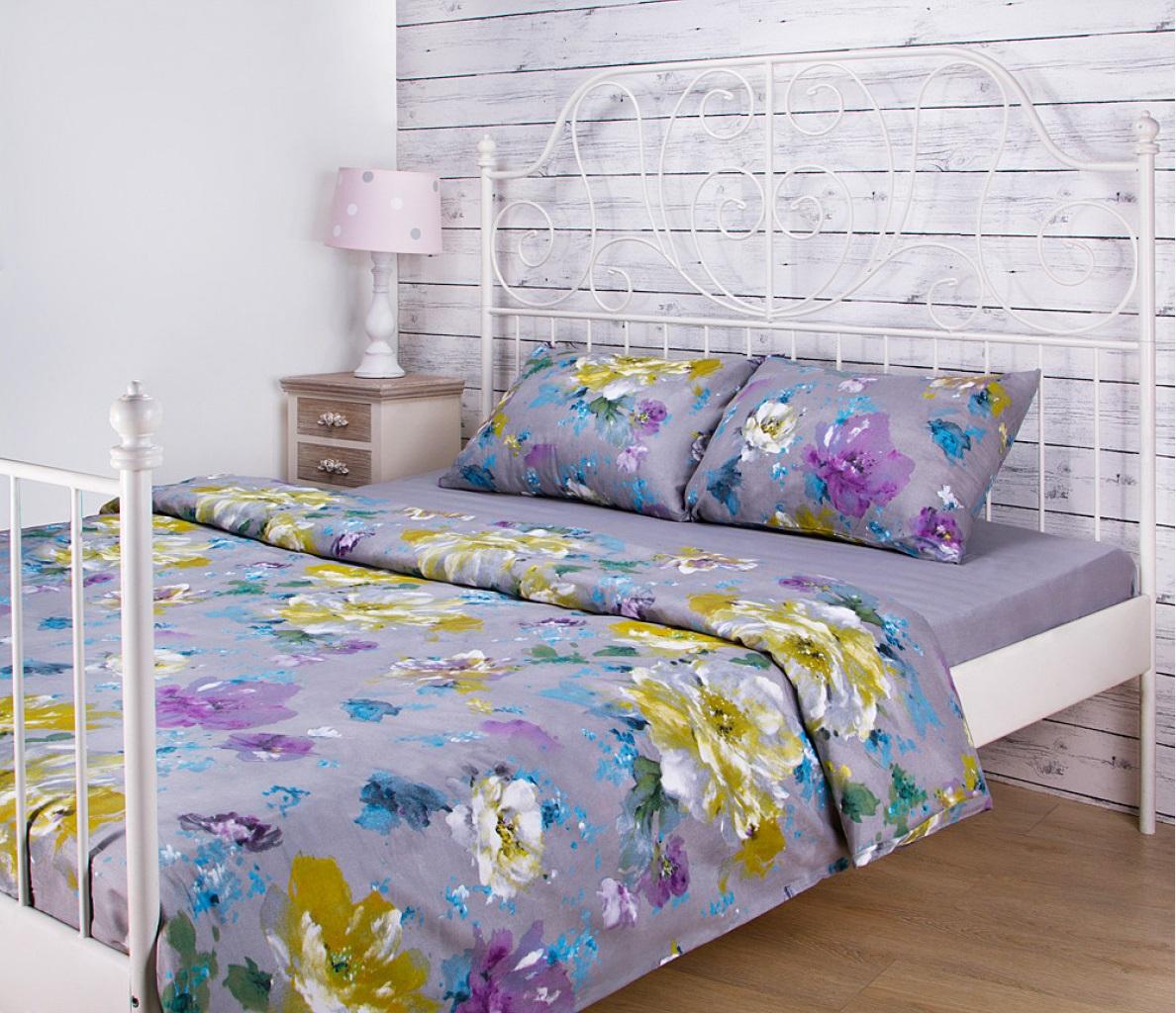 Постельное белье Santalino Постельное белье Цветы Цвет: Серый (1,5 спал.)