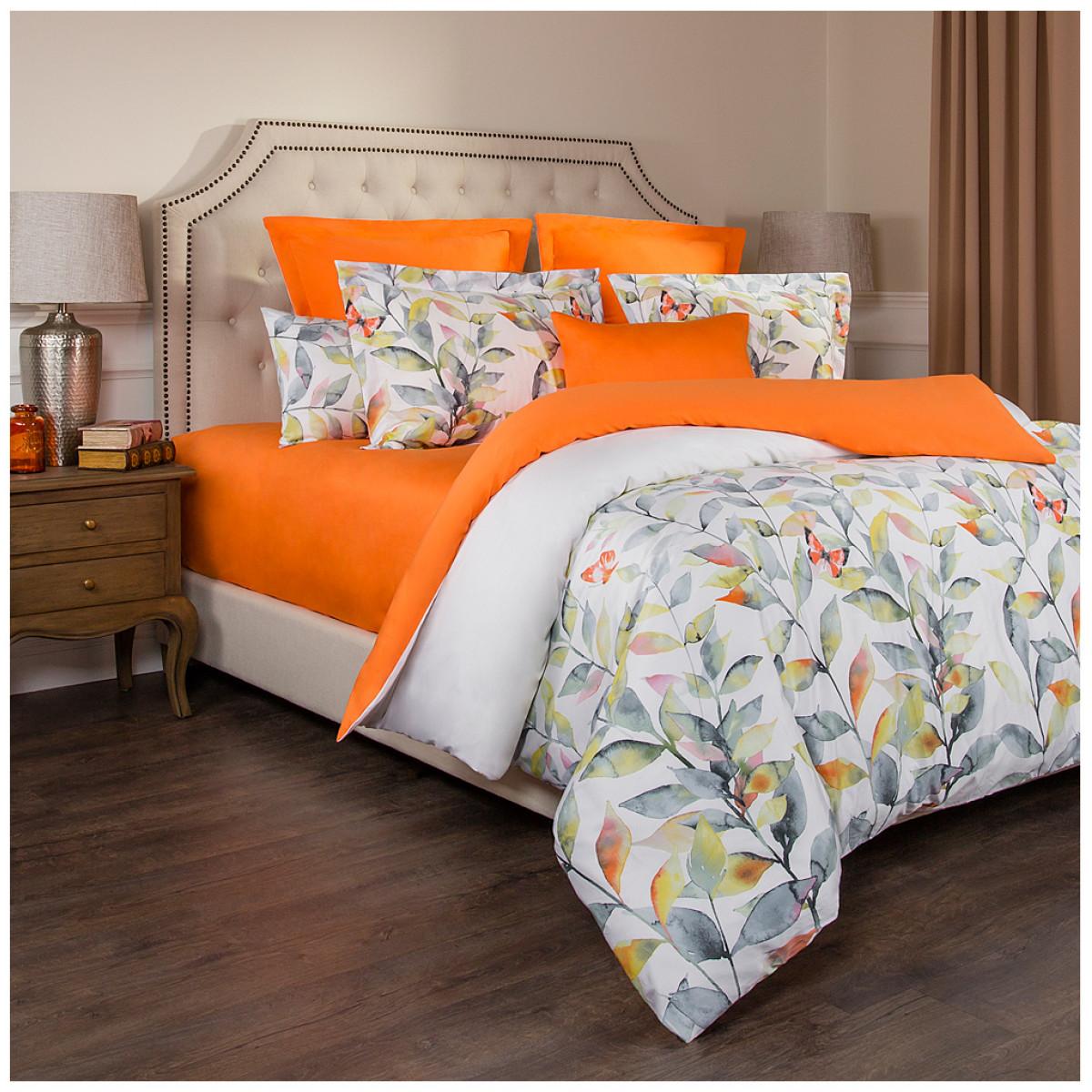 Постельное белье Santalino Постельное белье Гармоника Цвет: Белый-Оранжевый (2 спал.)