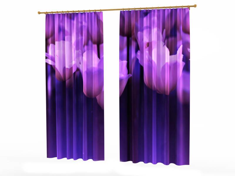 Шторы StickButik Фотошторы Ультрафиолетовые Тюльпаны шторы stickbutik фотошторы тюльпаны над водой