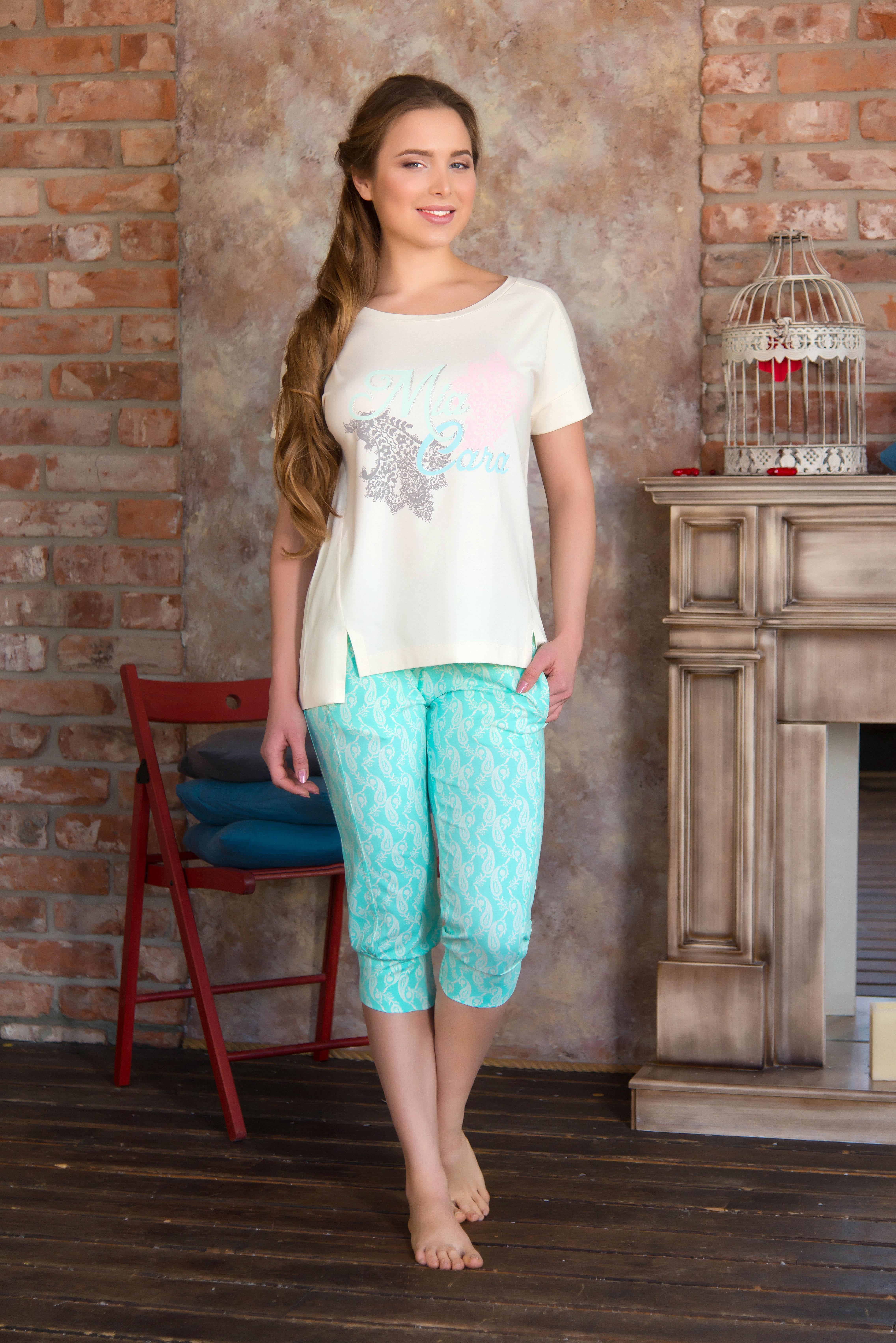 Костюмы для дома и отдыха Mia Cara Костюм для дома Jasmin Цвет: Ментол (xxxL) пижама женская футболка шорты mia cara portugal цвет розовый голубой aw16 mc 813 размер 50 52