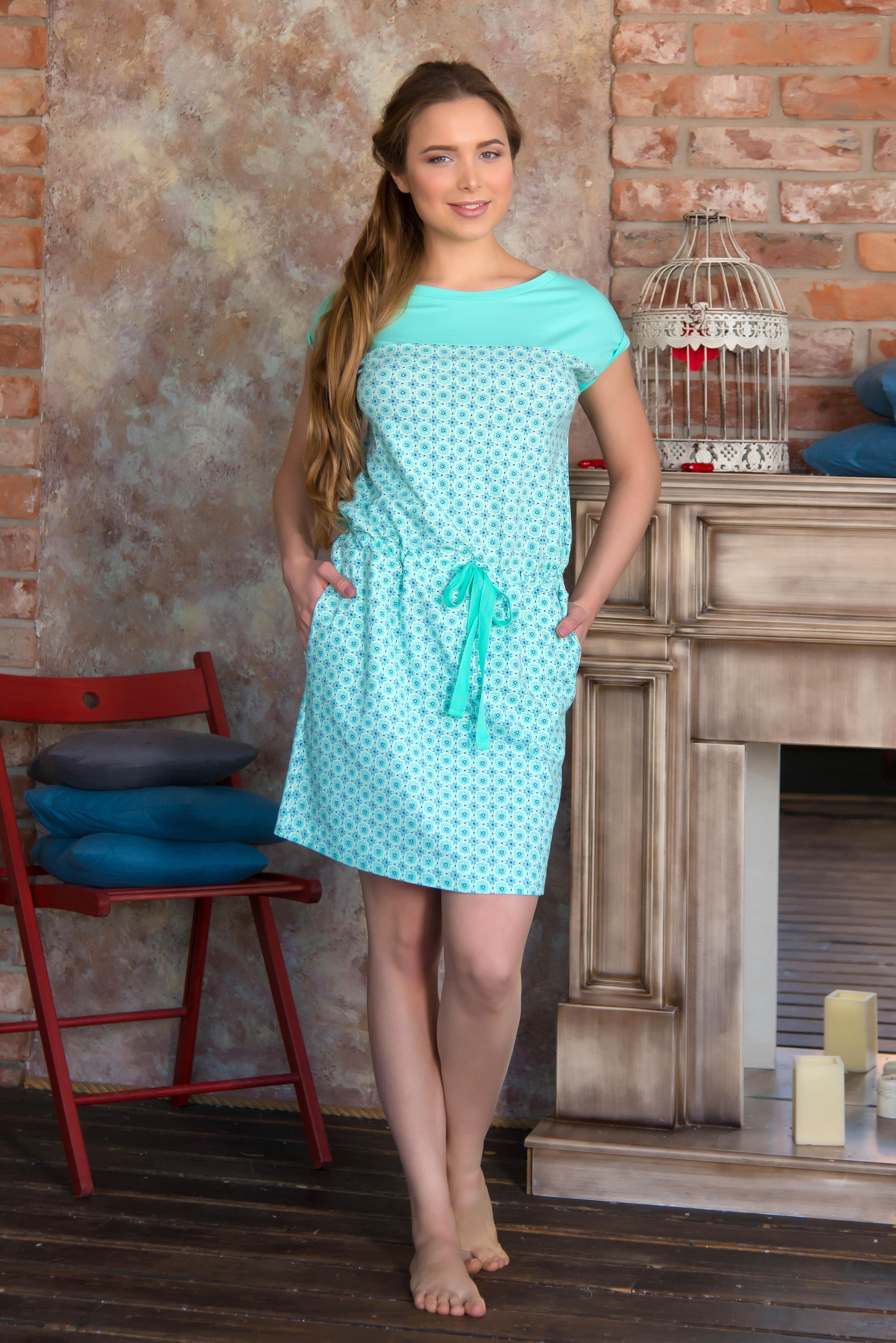 Туники, сарафаны Mia Cara Платье Isidora Цвет: Ментол (xxxL) пижама женская футболка шорты mia cara portugal цвет розовый голубой aw16 mc 813 размер 50 52