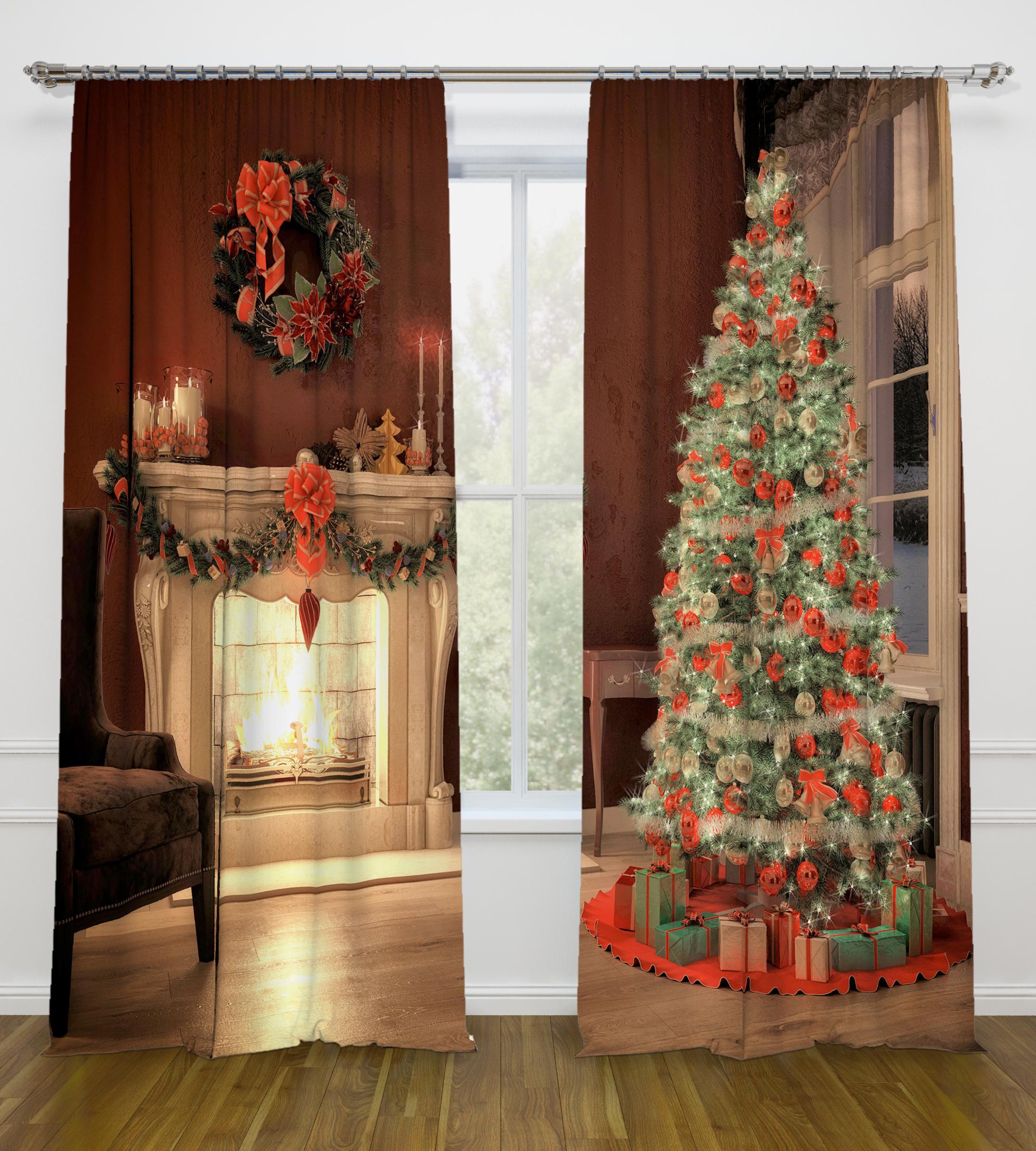 Шторы Стильный Дом Фотошторы Рождество как дом в деревне на мат капиталл