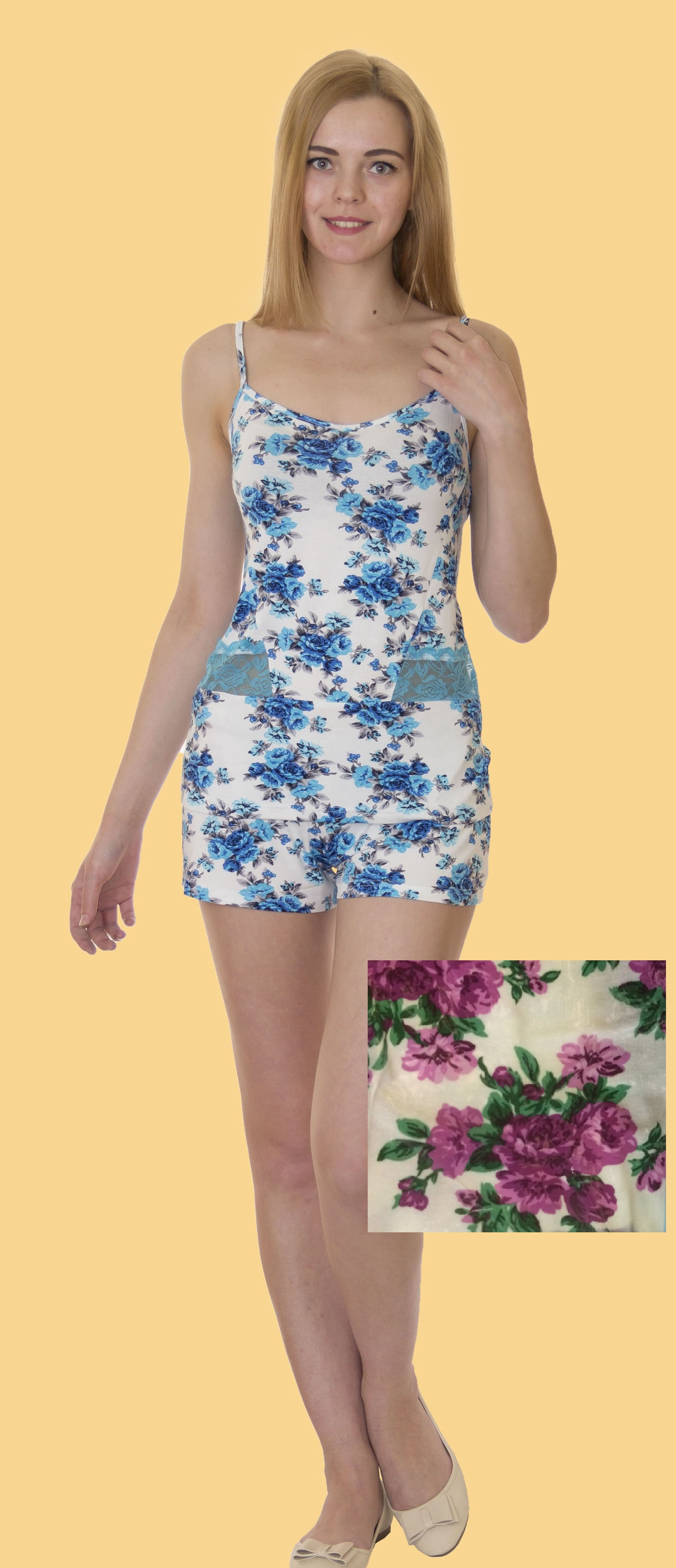 Пижамы Лотос Пижама Ассоль Цвет: Розовые Цветы (L) пижама жен mia cara майка шорты botanical aw15 ubl lst 264 р 42 44 1119503