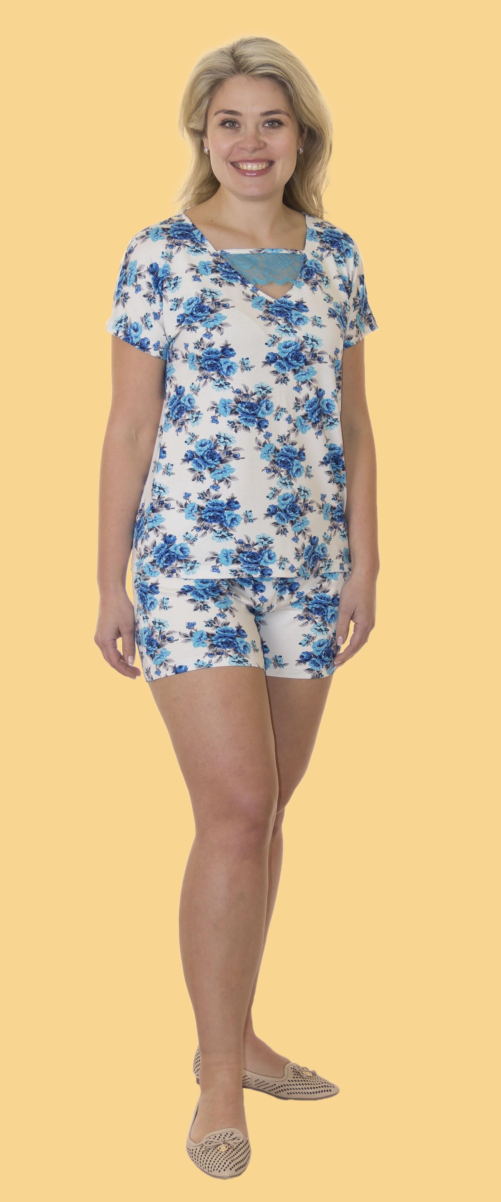 Пижамы Лотос Пижама Мила Цвет: Синие Цветы (xxL) красная сорочка и стринги mila xxl 3xl