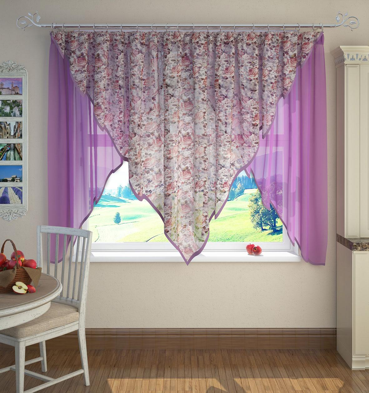 Шторы ARCODORO Классические шторы Зигзаг Цвет: Сиреневый шторы tac классические шторы winx цвет персиковый 200x265 см