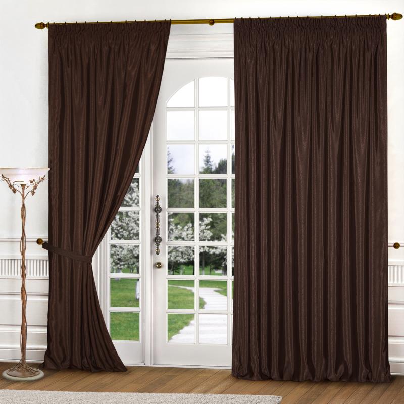Шторы Elegante Классические шторы Шелковый Блеск Цвет: Темно-Коричневый шторы tac классические шторы winx цвет персиковый 200x265 см