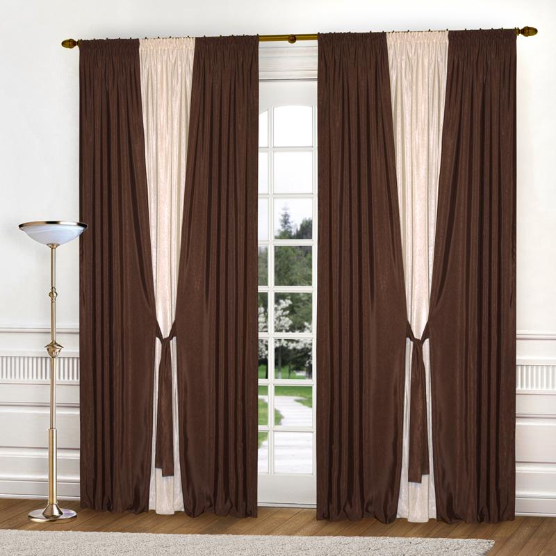 Шторы Elegante Классические шторы Тронный Зал Цвет: Темно-Коричневый, Светло-Бежевый шторы kauffort классические шторы barolo