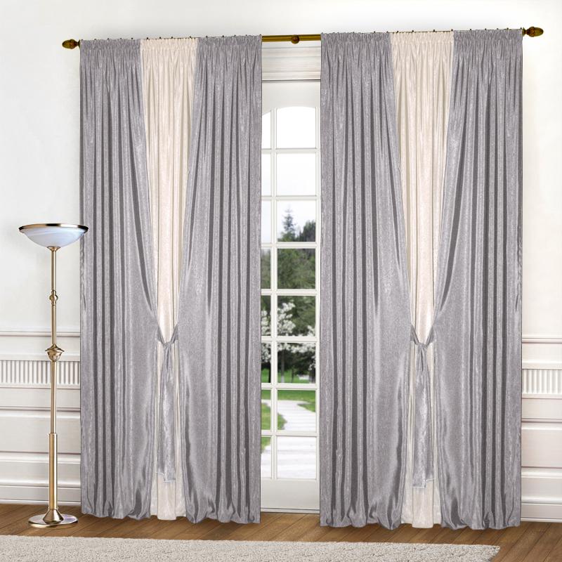 Шторы Elegante Классические шторы Тронный Зал Цвет: Молочный, Светло-Серый шторы elegante классические шторы туман цвет персиковый