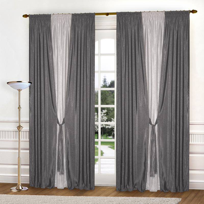 Шторы Elegante Классические шторы Тронный Зал Цвет: Светло-Серый, Стальной шторы primavera классические шторы maev цвет персиковый