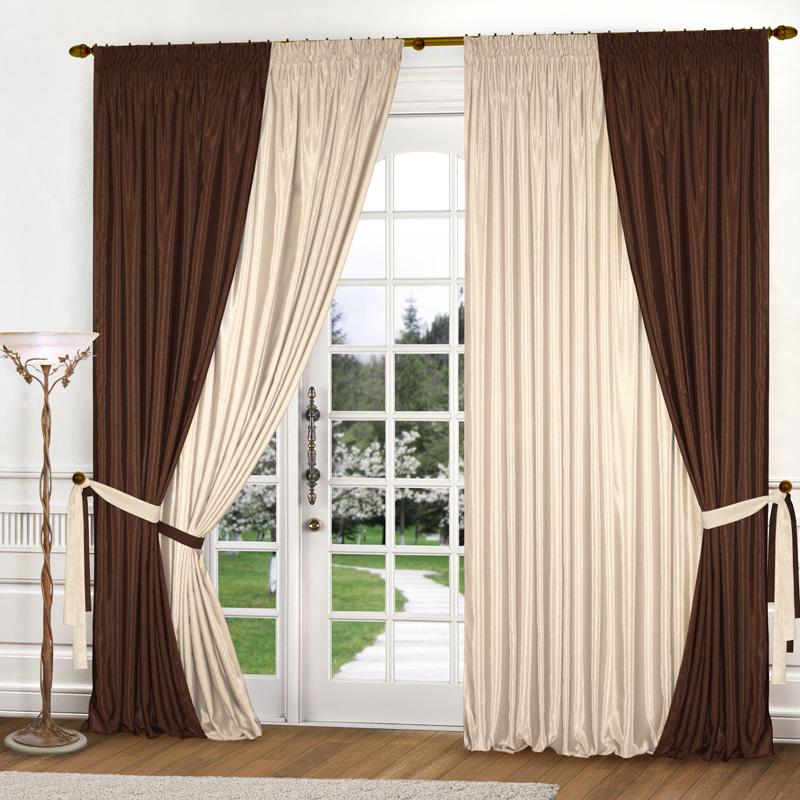 Шторы Elegante Классические шторы Миллениум Цвет: Темно-Коричневый, Светло-бежевый шторы tac классические шторы winx цвет персиковый 200x265 см