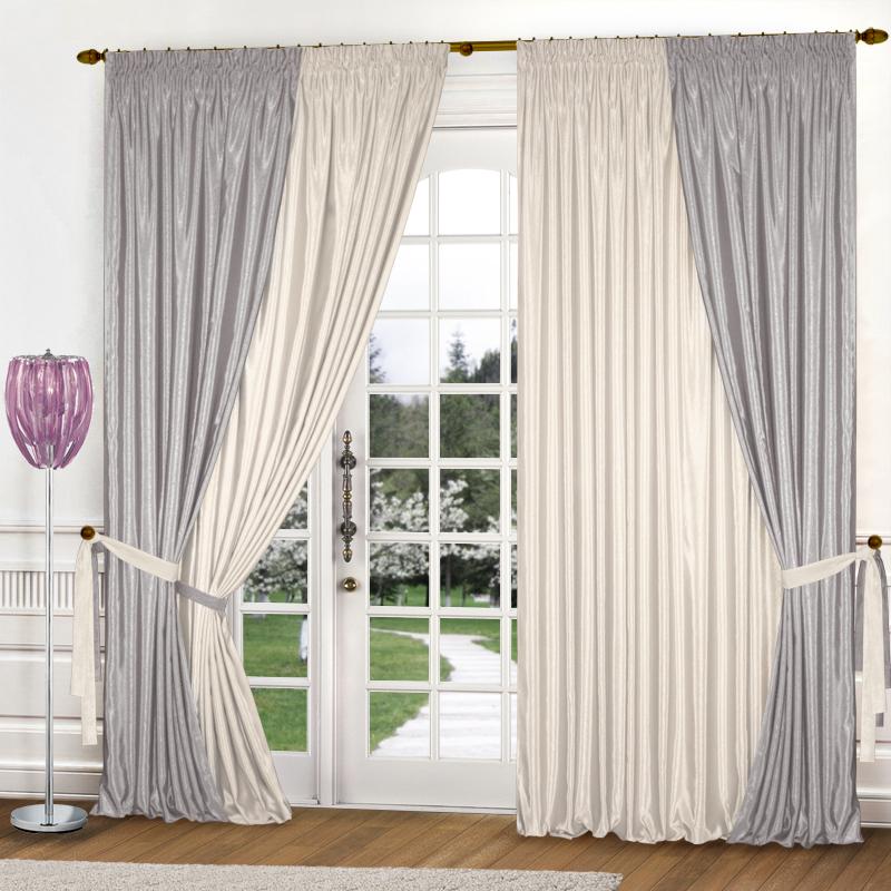 Шторы Elegante Классические шторы Миллениум Цвет: Молочный, Светло-Серый шторы elegante классические шторы туман цвет персиковый