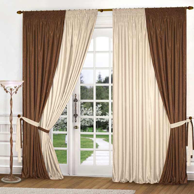 Шторы Elegante Классические шторы Миллениум Цвет: Коричневый, Светло-Бежевый шторы elegante классические шторы туман цвет персиковый