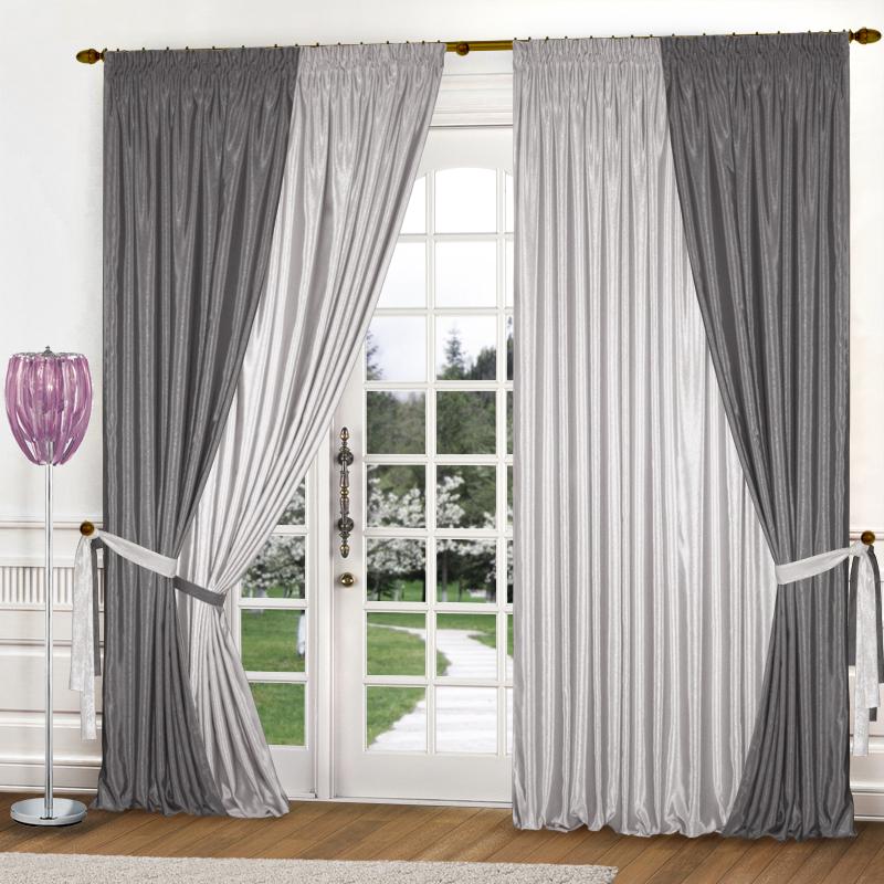 Шторы Elegante Классические шторы Миллениум Цвет: Светло-Серый, Стальной шторы tac классические шторы winx цвет персиковый 200x265 см