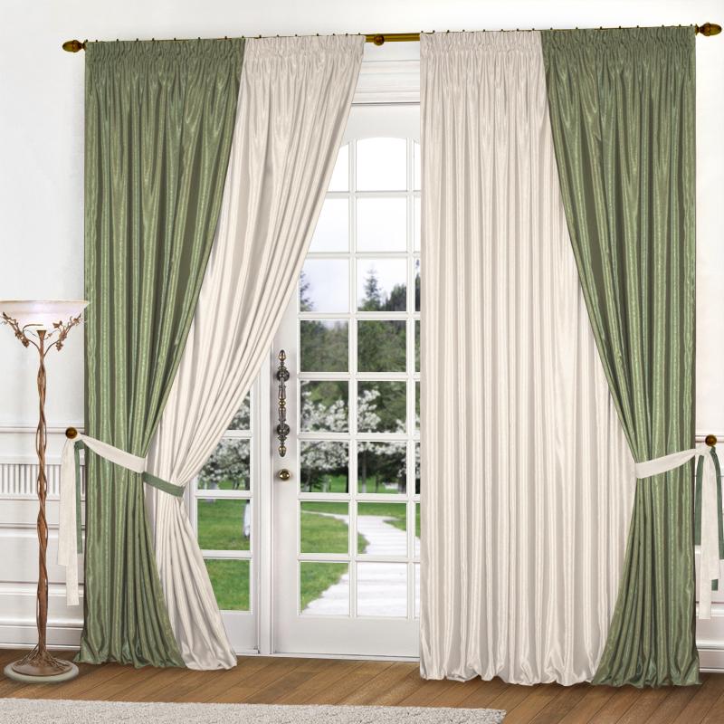 Шторы Elegante Классические шторы Миллениум Цвет: Оливковый, Молочный шторы elegante классические шторы туман цвет персиковый