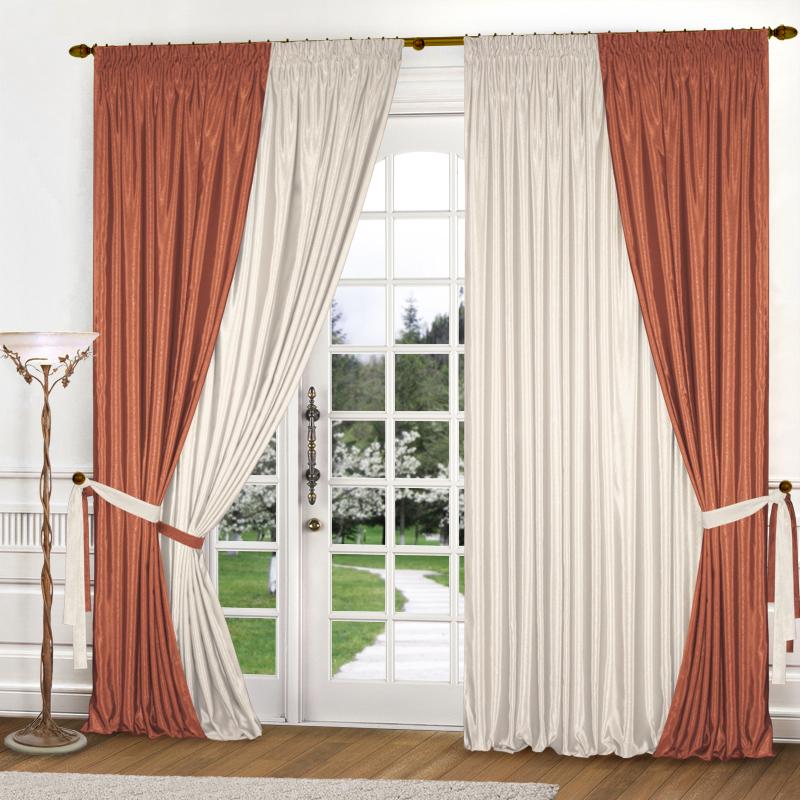 Шторы Elegante Классические шторы Миллениум Цвет: Терракотовый, Молочный шторы elegante классические шторы туман цвет персиковый