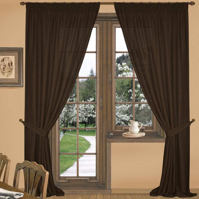 Шторы Elegante Классические шторы Эко-Стиль Цвет: Темно-Коричневый шторы tac классические шторы winx цвет персиковый 200x265 см