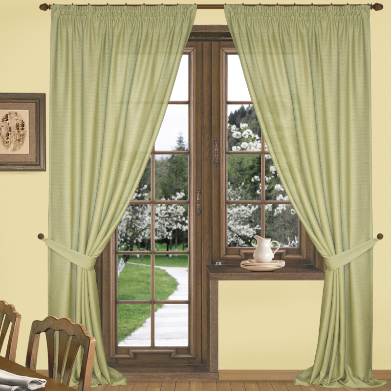 Шторы Elegante Классические шторы Эко-Стиль Цвет: Оливковый шторы tac классические шторы winx цвет персиковый 200x265 см