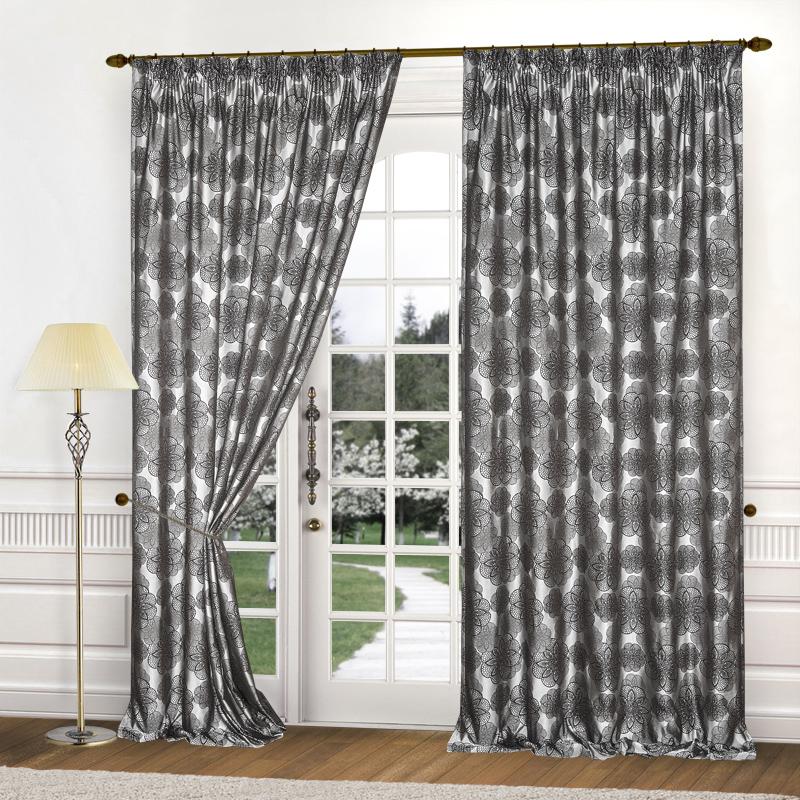 Шторы Elegante Классические шторы Cario Цвет: Серо-Черный шторы tac классические шторы winx цвет персиковый 200x265 см