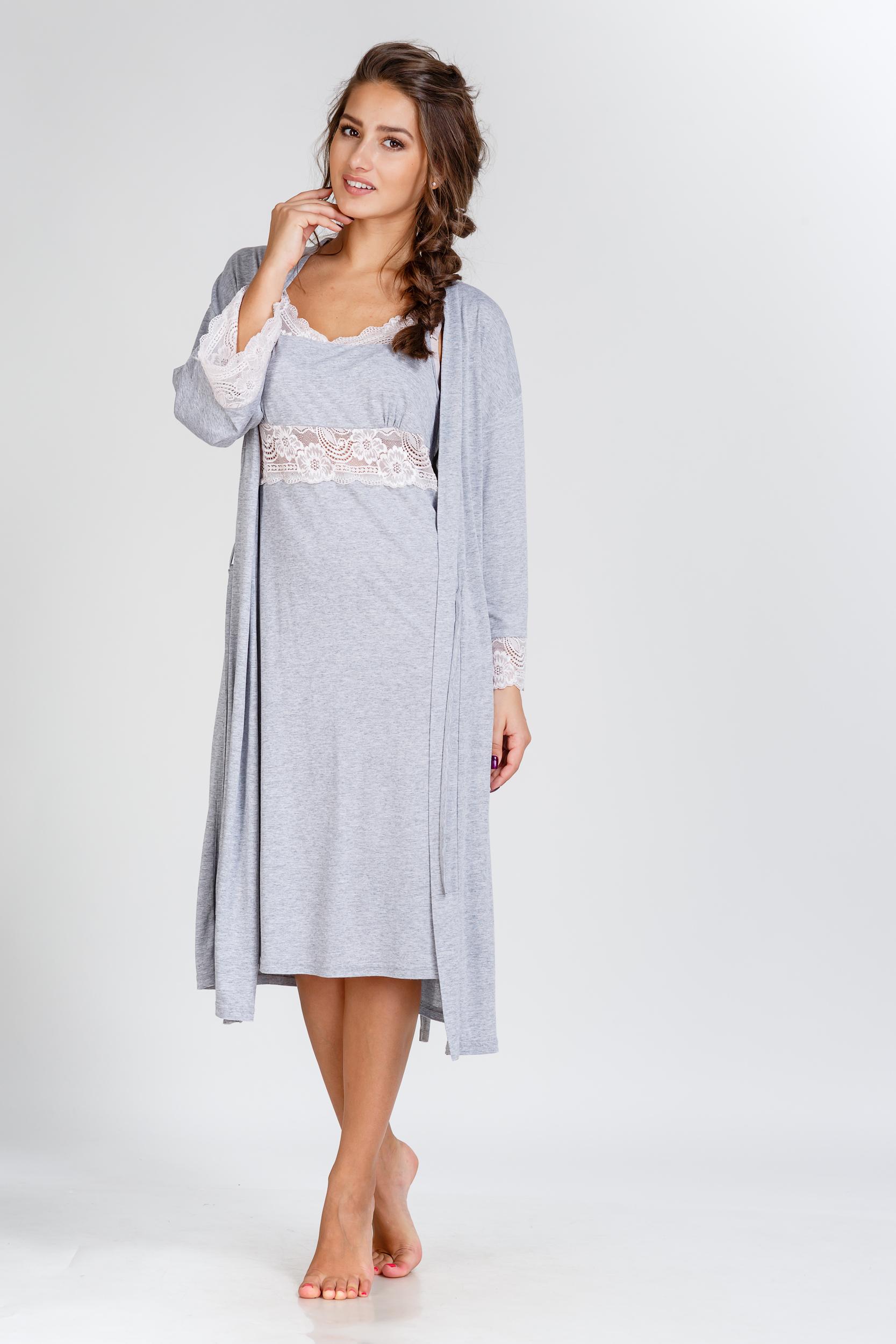 Домашние халаты Pastilla Домашний халат Ласса 2 Цвет: Серый Меланж (M) халаты домашние лори халат