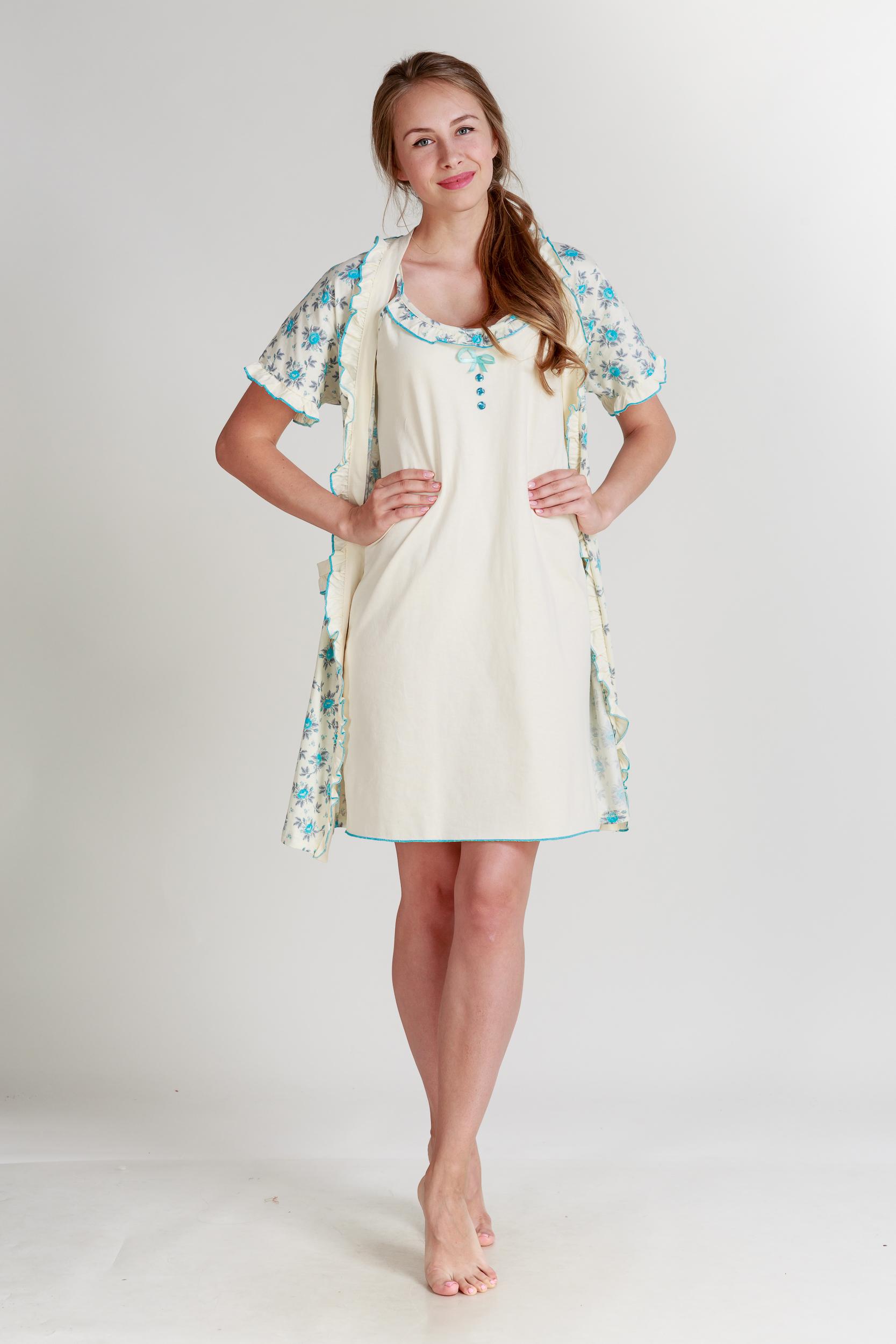 Домашние халаты Pastilla Халат и сорочка Ваниль Цвет: Голубой Экрю (xxL-xxxL) халаты домашние лори халат