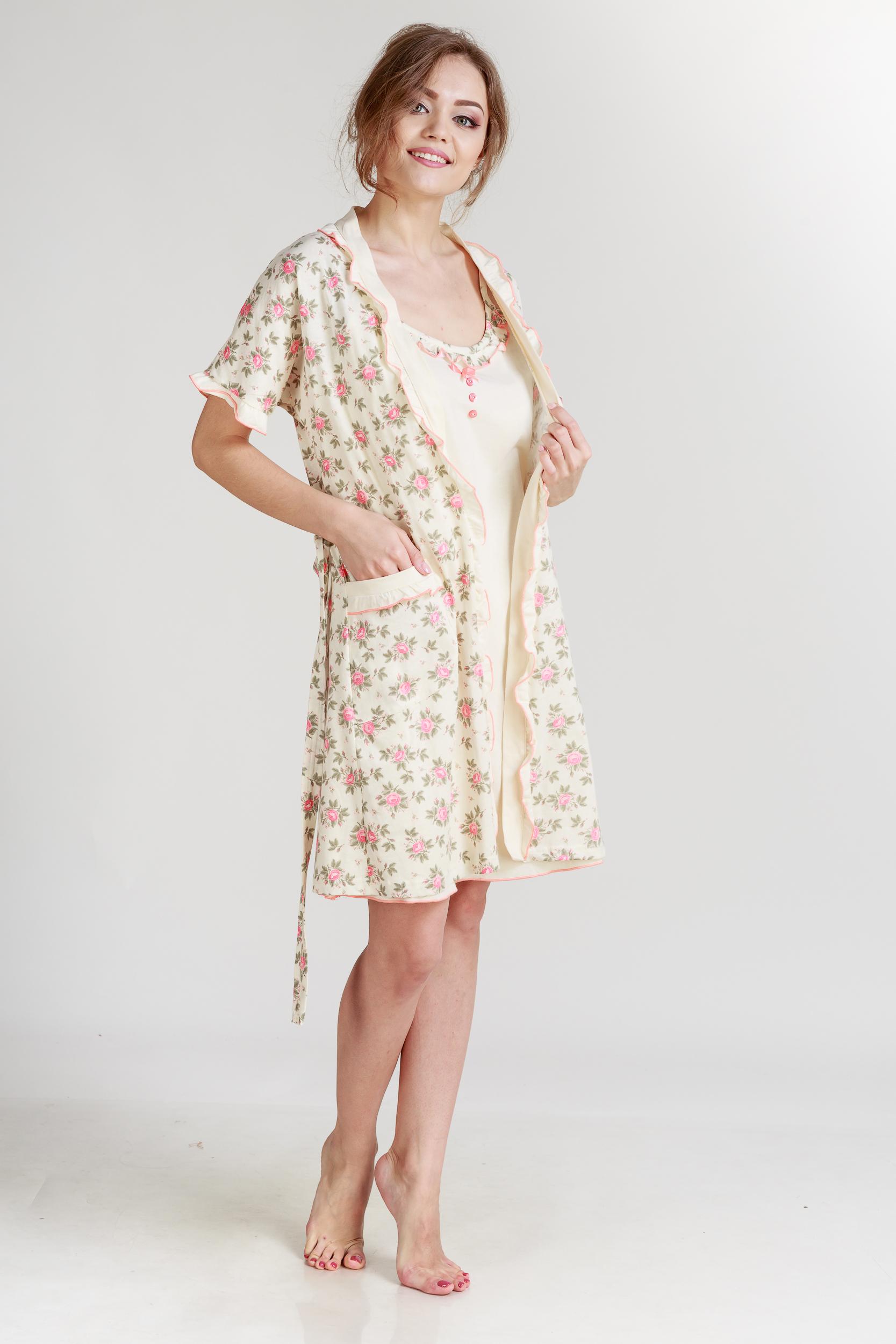 Домашние халаты Pastilla Халат и сорочка Ваниль Цвет: Коралловый Экрю (L) халаты домашние лори халат