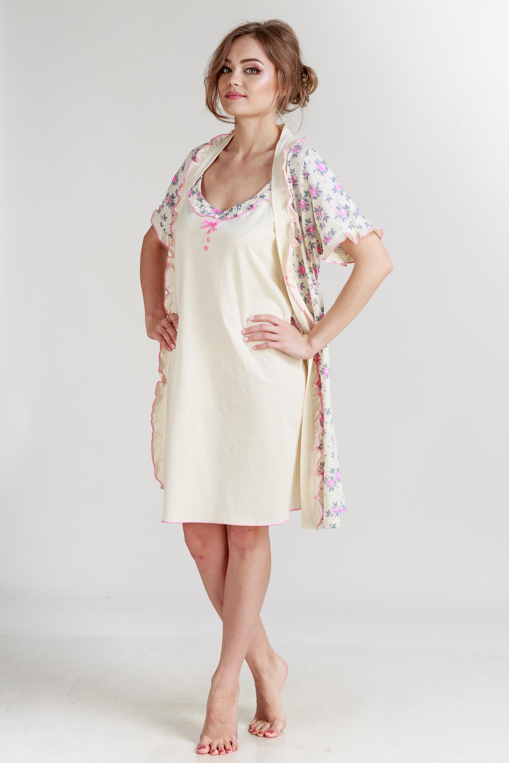 Домашние халаты Pastilla Халат и сорочка Ваниль Цвет: Розовый Экрю (xL) alena alenkina комплект халат сорочка