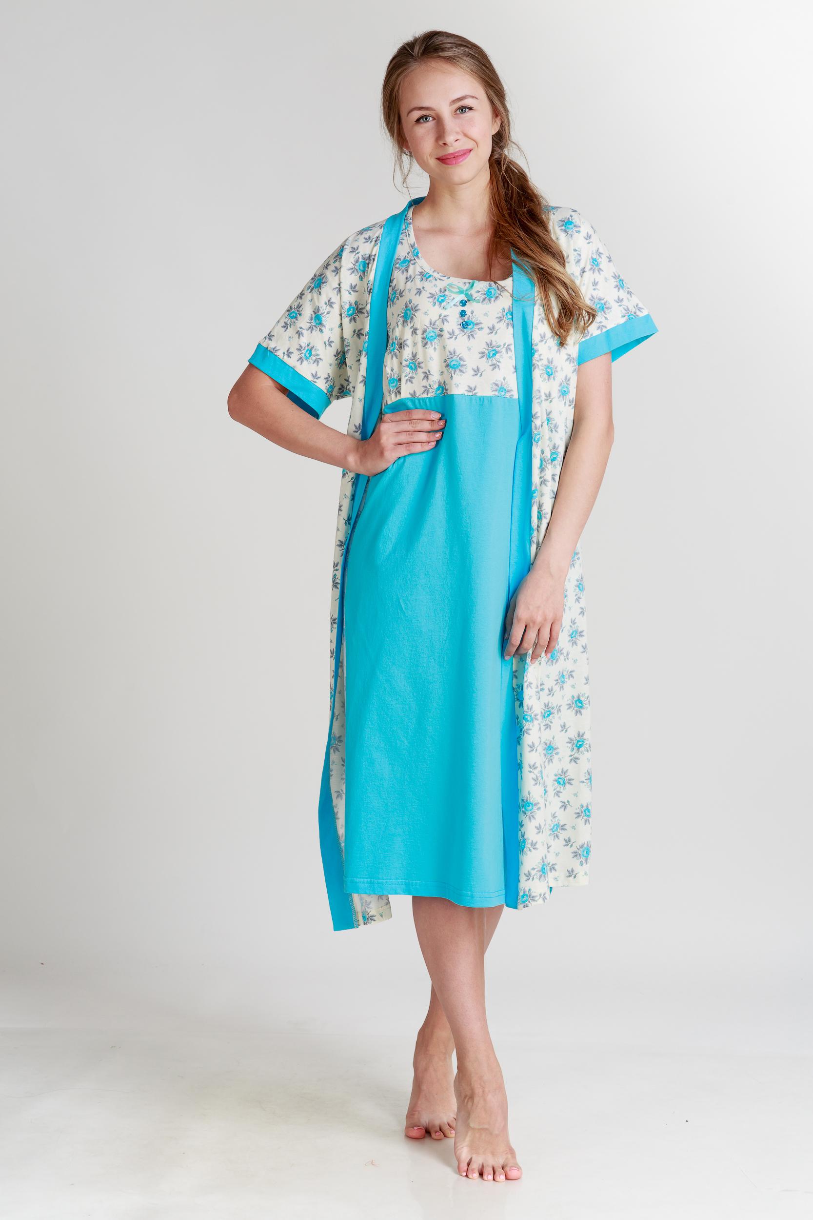 Домашние халаты Pastilla Халат и сорочка Ваниль Цвет: Голубой (xL) сорочка ночная для беременных и кормящих мамин дом мамин дом цвет голубой 24130 размер 48