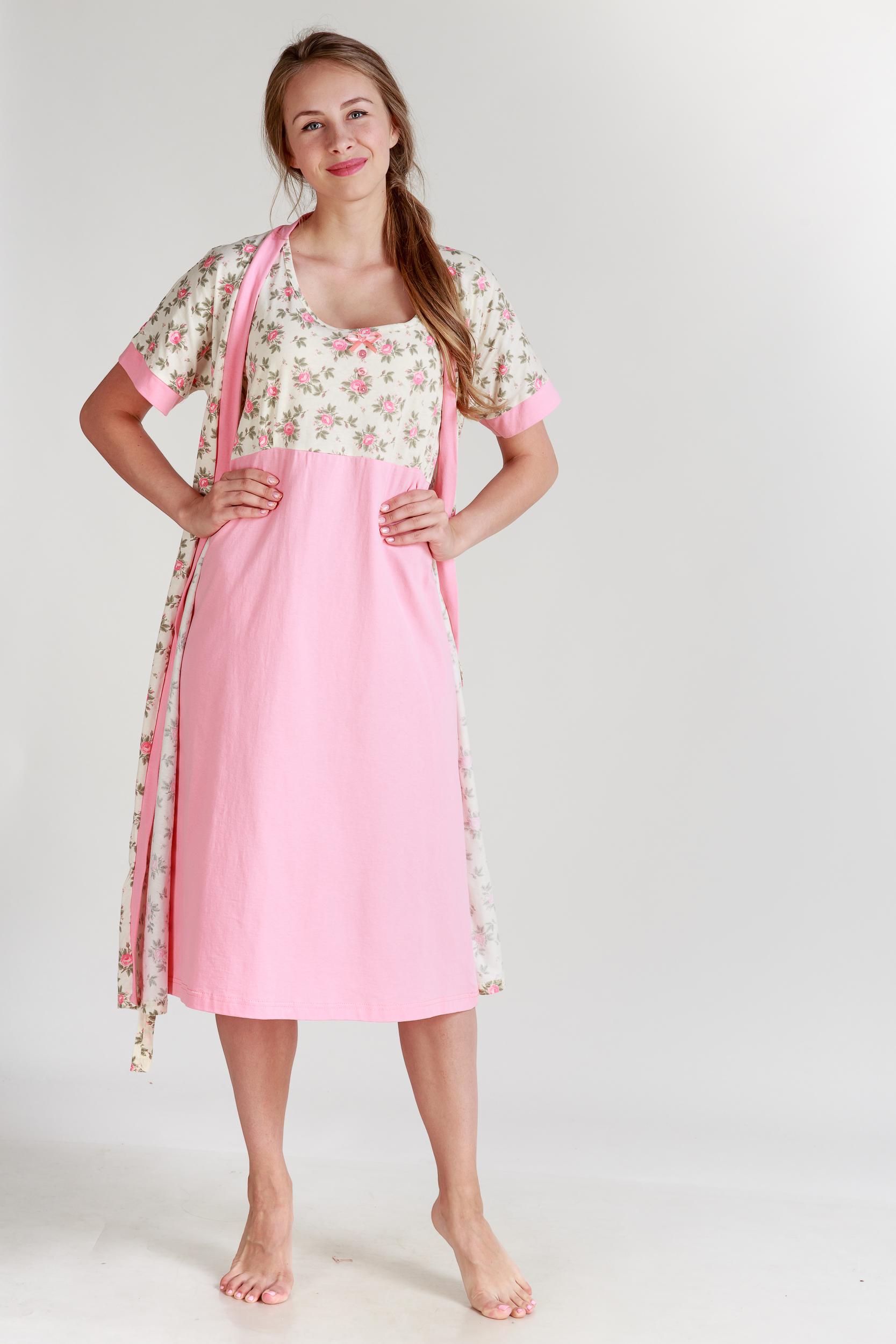 Домашние халаты Pastilla Халат и сорочка Ваниль Цвет: Коралловый (L-xL) халаты домашние лори халат