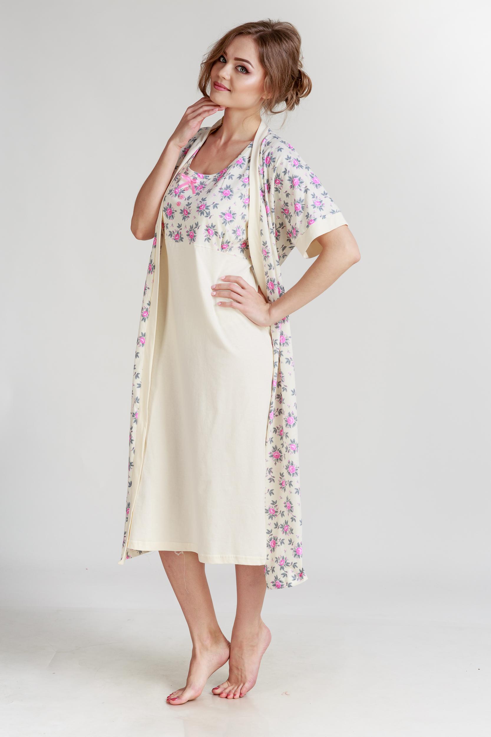Домашние халаты Pastilla Халат и сорочка Ваниль Цвет: Розовый Экрю (L) халаты домашние лори халат