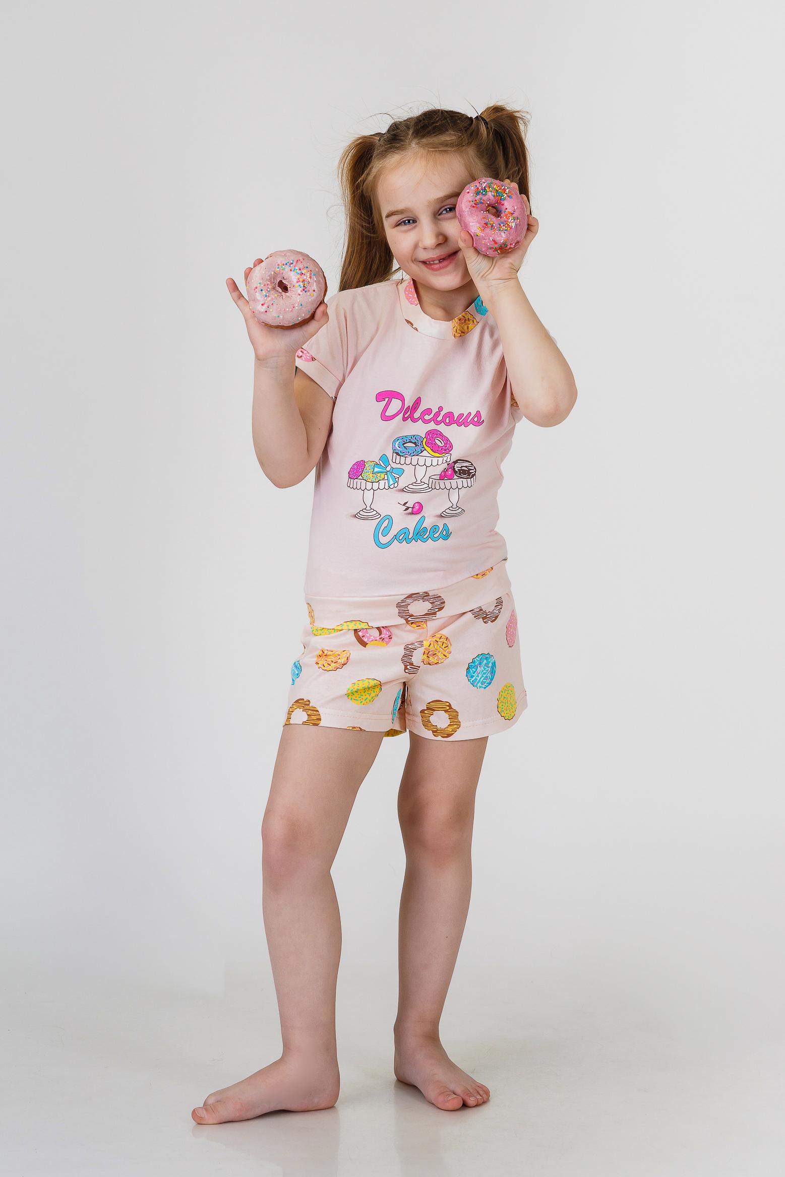 Детские пижамы Pastilla Детская пижама Лакомка Цвет: Пудровый (7 лет) купить часы мальчику 7 лет