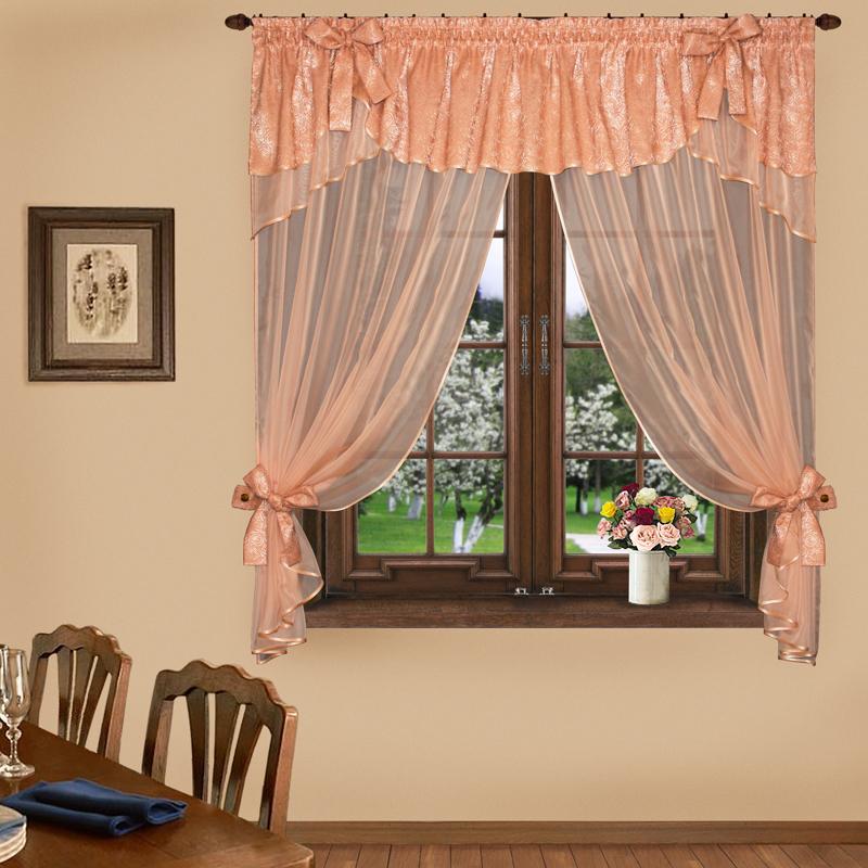Шторы Elegante Шторы с ламбрекеном Воздушный Поцелуй Цвет: Персиковый шторы tac классические шторы winx цвет персиковый 200x265 см