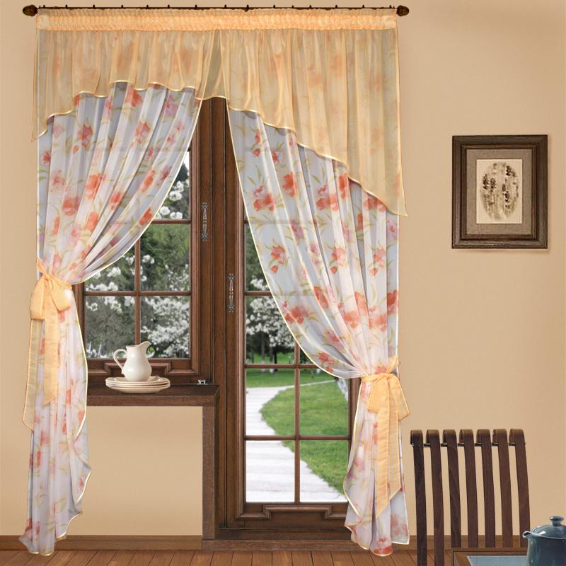 Шторы Elegante Шторы с ламбрекеном Цветочная Фантазия Цвет: Персиковый шторы tac классические шторы winx цвет персиковый 200x265 см