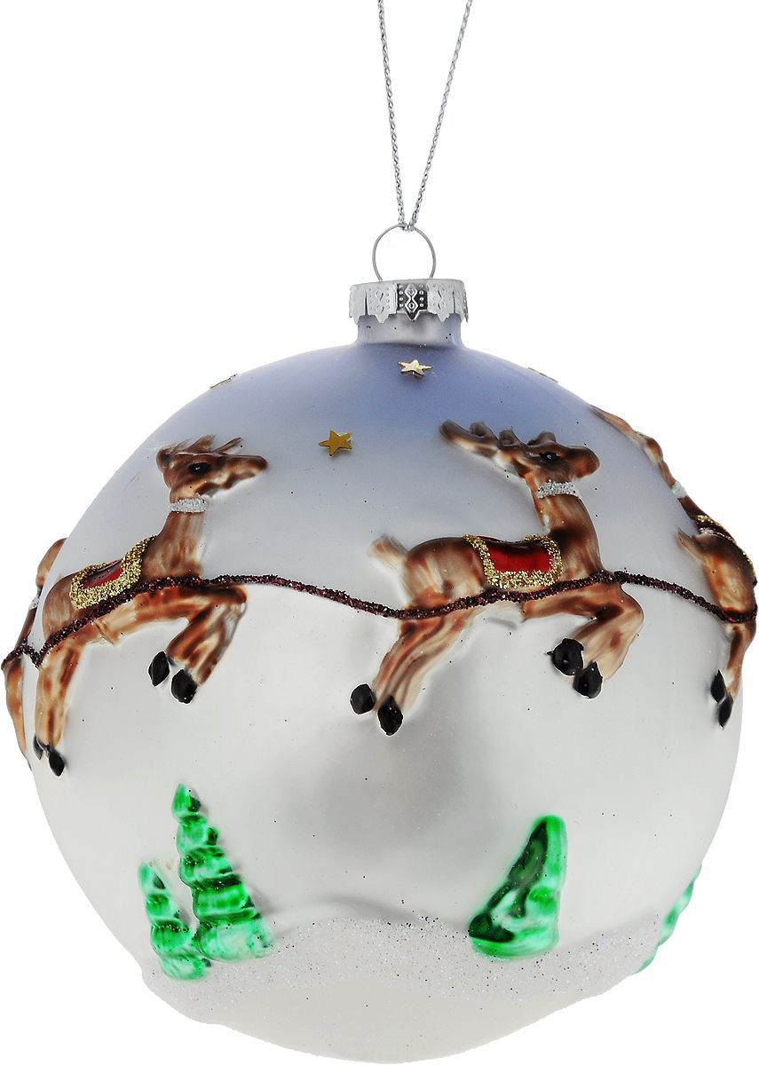 {}  Шар Дед Мороз в Санях (10 см) фигурки sweet home ёлочное украшение дед мороз