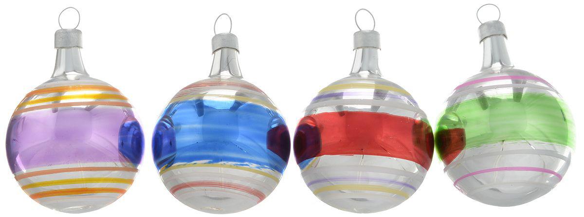 {}  Набор шаров Ностальжи (4 см - 4 шт) набор шаров 60мм 20шт стекло золото коричневый