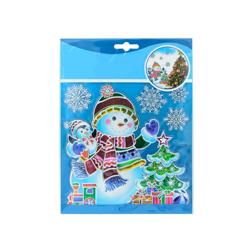 {}  Наклейка-панно Снеговик с Елкой (18х24 см) kaemingk дружелюбный снеговик в колпаке 18х24 см 667656